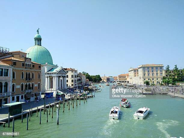 san simeone piccolo by grand canal against clear sky - simeone stock pictures, royalty-free photos & images