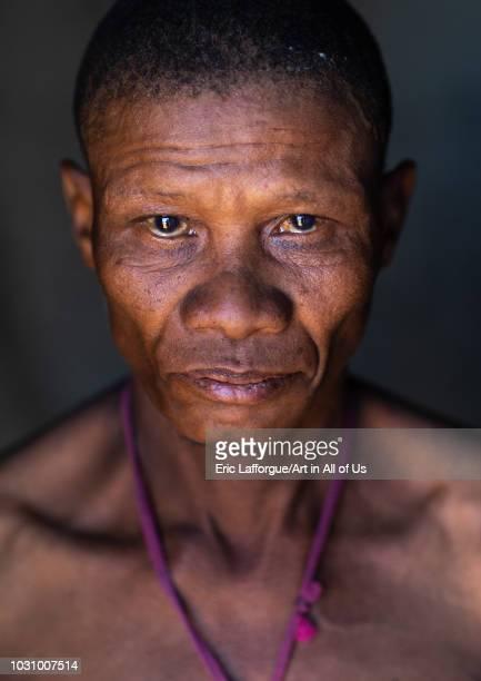 San tribe man portrait, Huila Province, Chibia, Angola on July 12, 2018 in Chibia, Angola.