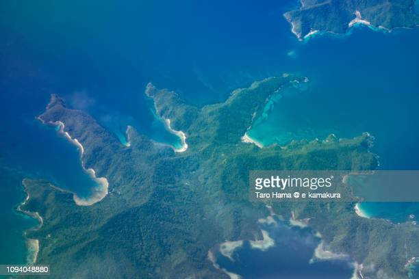 San Vicente in Palawan Island in Province of Palawan in Philippines daytime aerial view from airplane daytime aerial view from airplane