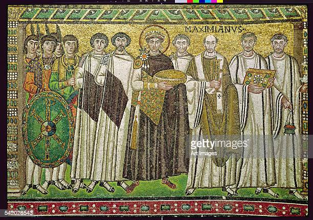 Emperor Justinian I and his retinue of officials, guards and clergy, c.547 AD