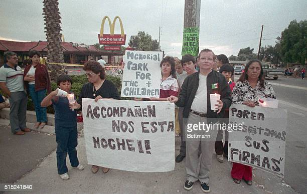 Demonstration in memory of the victims of James Huberty who opened fire on patrons in a McDonalds restaurant