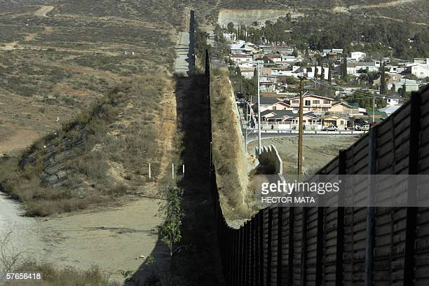 A view of the wall that separates the US and Mexico in San Ysidro California 27 January 2006 US Senators approved 17 May a measure for the...