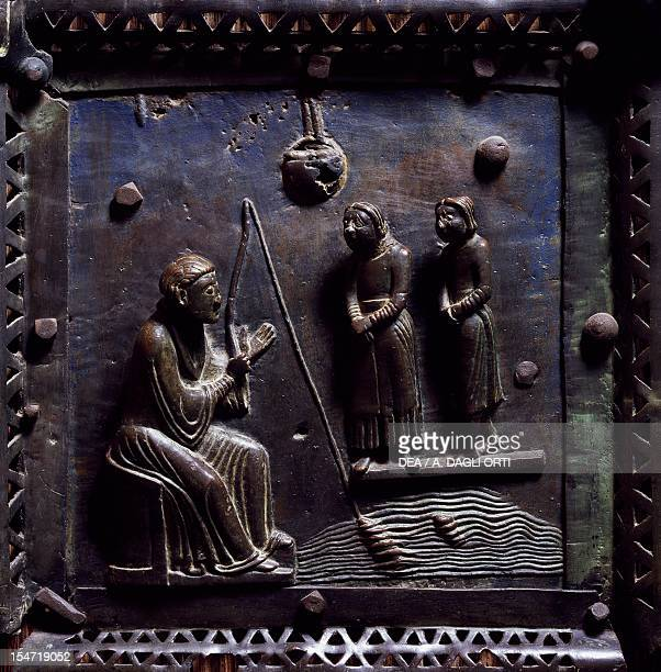 San Zeno while fishing in the Adige River meeting Gallienus' messengers asking the saint to heal the princess possessed by the devil bronze panel...