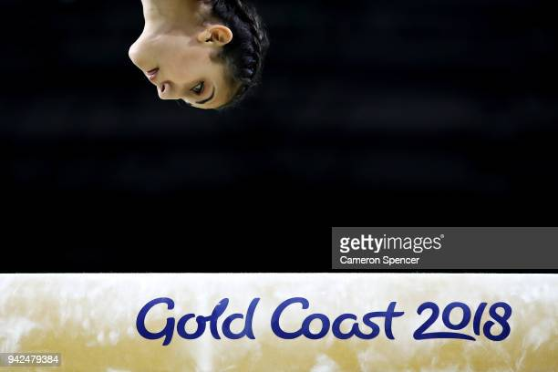 Sana Grillo of Malta compete in the beam during the Gymnastics Artistic Women's Team Final and Individual Qualification on day two of the Gold Coast...