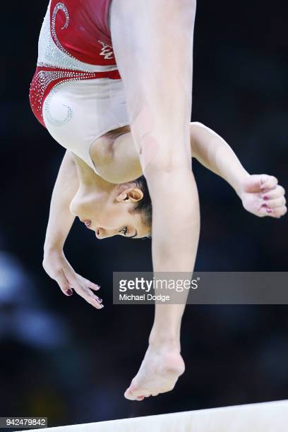 Sana Grillo of Malta competes on the Beam during the Gymnastics Artistic Women's Team Final and Individual Qualificationon day two of the Gold Coast...
