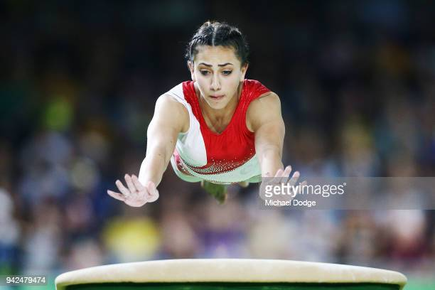 Sana Grillo of Malta competes on the Vault during the Gymnastics Artistic Women's Team Final and Individual Qualificationon day two of the Gold Coast...