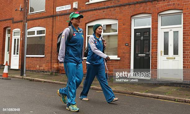 Sana Mir captain of Pakistan and Asmavia Iqbal arrive ahead of the 1st Royal London ODI match between England Women and Pakistan Women at Grace Road...