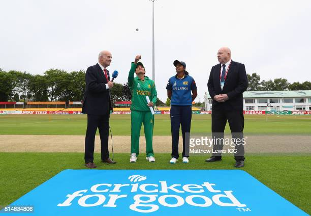Sana Mir captain of Pakistan and Inoka Ranaweera captain of Sri Lanka pictured during the coin toss during the ICC Women's World Cup 2017 match...