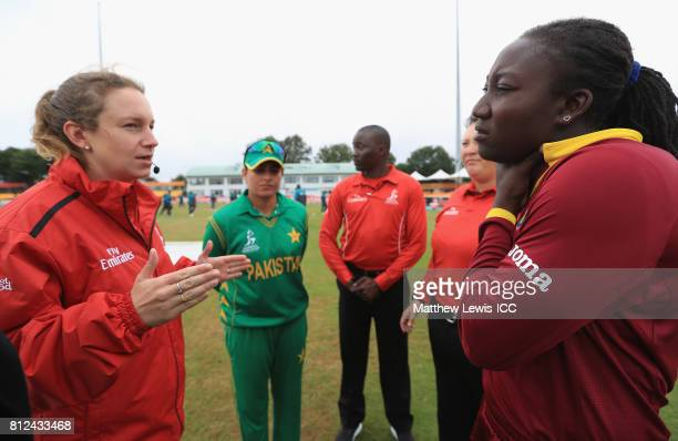 Sana Mir Captain of Pakistan and Stafanie Taylor Captain of the West Indies talk to Reserve Umpire Claire Polosak ahead of the ICC Women's World Cup...