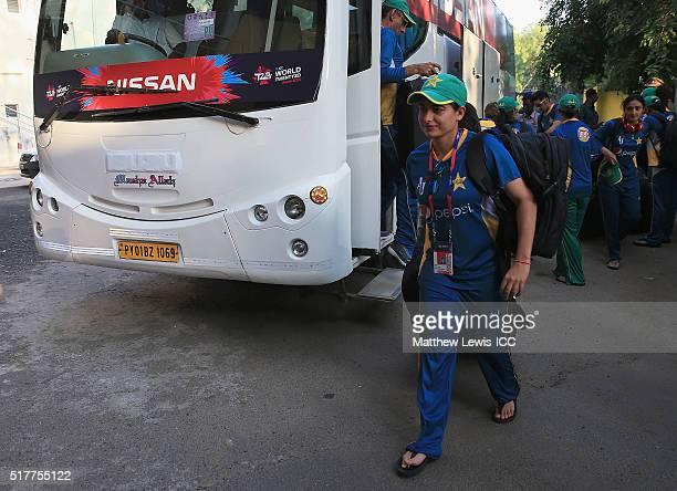 Sana Mir Captain of Pakistan arrives ahead of the Women's ICC World Twenty20 India 2016 match between England and Pakistan at Chidambaram on March 27...