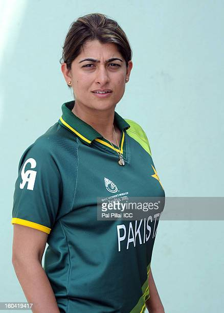Sana Mir Captain of Pakistan attends a portrait session ahead of the ICC Womens World Cup 2013 at the Barabati stadium on January 31 2013 in Cuttack...