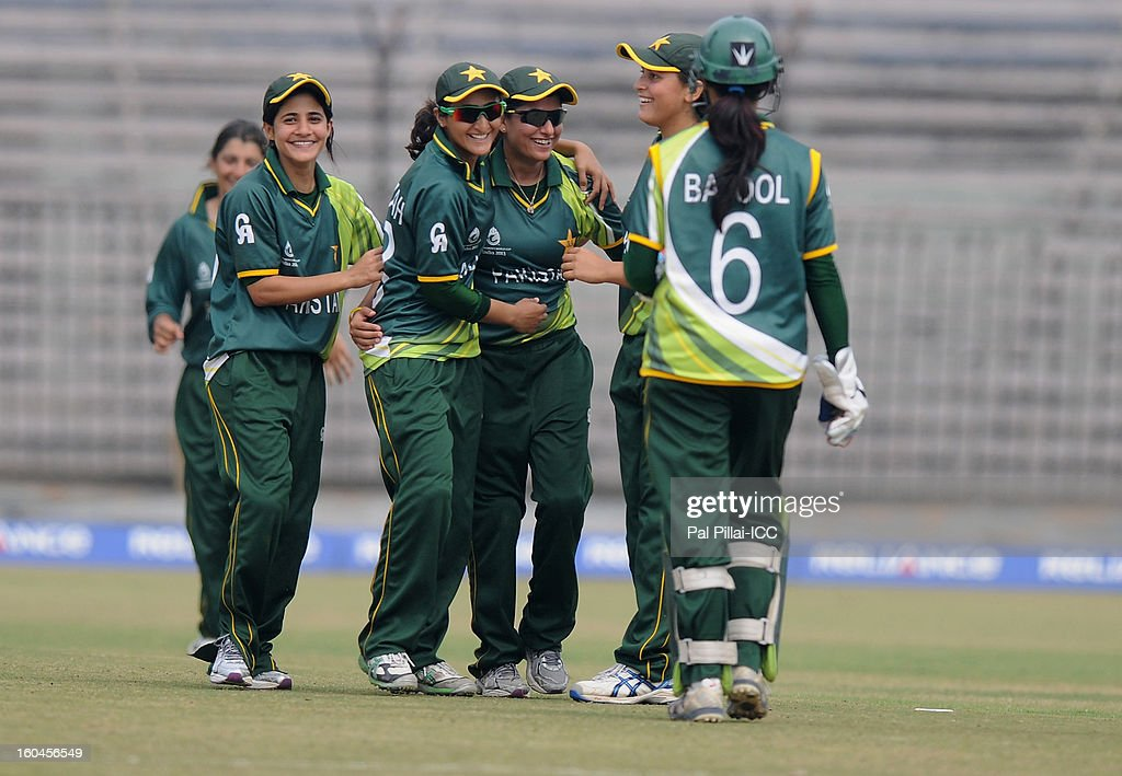 Sana Mir captain of Pakistan celebrates a wicket with teammates during the second match of ICC Womens World Cup between Australia and Pakistan, played at the Barabati stadium on February 1, 2013 in Cuttack, India.