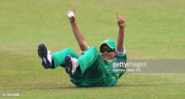 Sana Mir captain of Pakistan celebrates catching Chamari Athapaththu of Sri Lanka off the bowling of Kainat Imtiaz during the ICC Women's World Cup...