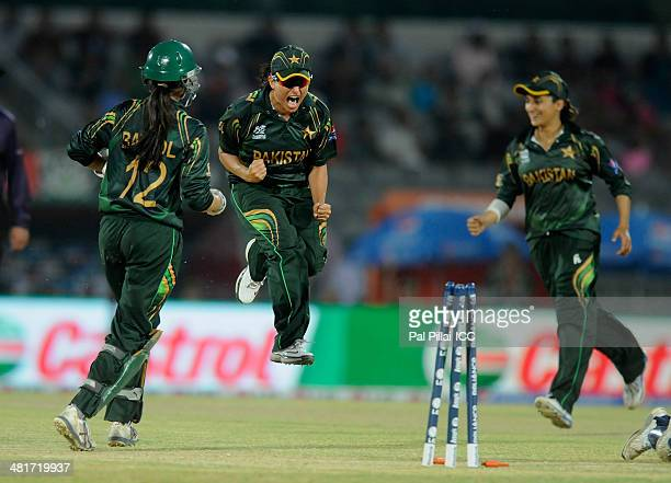 Sana Mir captain of Pakistan celebrates the wicket of Louise McCarthy of Ireland during the ICC Women's World Twenty20 match between Pakistan Women...