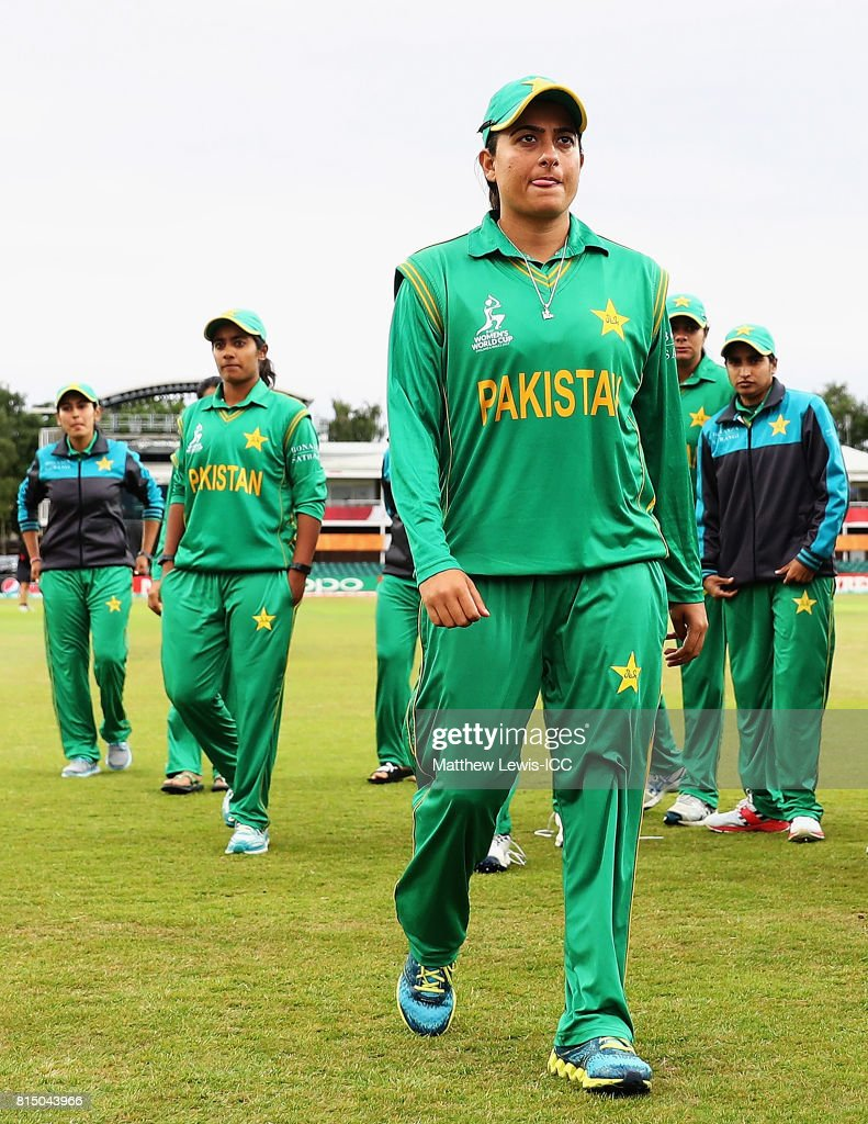 Sana Mir, captain of Pakistan looks on after her team lost to Sri Lanka during the ICC Women's World Cup 2017 match between Pakistan and Sri Lanka at Grace Road on July 15, 2017 in Leicester, England.
