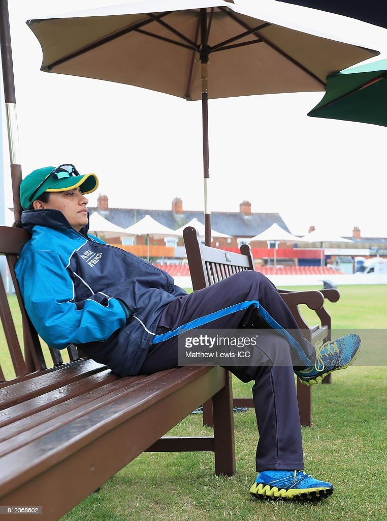 Sana Mir, Captain of Pakistan looks on, as rain delays the start of the ICC Women's World Cup 2017 match between West Indies and Pakistan at Grace Road on July 11, 2017 in Leicester, England.