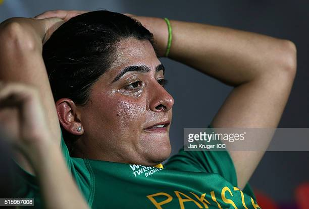 Sana Mir Captain of Pakistan looks on dejected during the Women's ICC World Twenty20 India 2016 match between West Indies and Pakistan at MA...