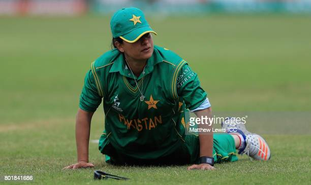 Sana Mir Captain of Pakistan looks on during the ICC Women's World Cup 2017 match between England and Pakistan at Grace Road on June 27 2017 in...
