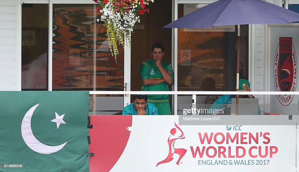 Sana Mir, captain of Pakistan looks on from the dressing rooms during the ICC Women's World Cup 2017 match between Pakistan and Sri Lanka at Grace Road on July 15, 2017 in Leicester, England.