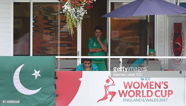 Sana Mir captain of Pakistan looks on from the dressing rooms during the ICC Women's World Cup 2017 match between Pakistan and Sri Lanka at Grace...