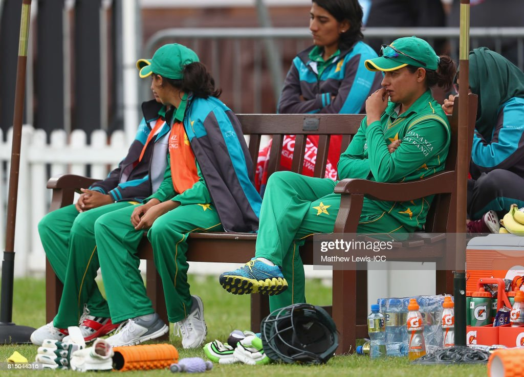 Sana Mir, captain of Pakistan looks on from the dugout during the ICC Women's World Cup 2017 match between Pakistan and Sri Lanka at Grace Road on July 15, 2017 in Leicester, England.