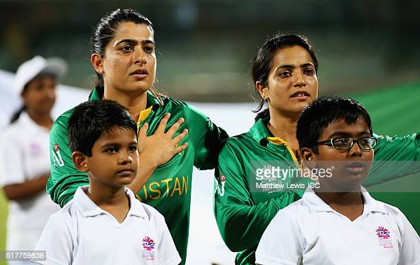 Sana Mir Captain of Pakistan pictured during the National anthems during the Women's ICC World Twenty20 India 2016 match between England and Pakistan...