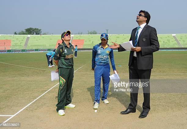 Sana Mir captain of Pakistan Shashikala Siriwardena captain of Sri Lanka and ICC match referee Javagal Srinath during the toss before the start of...