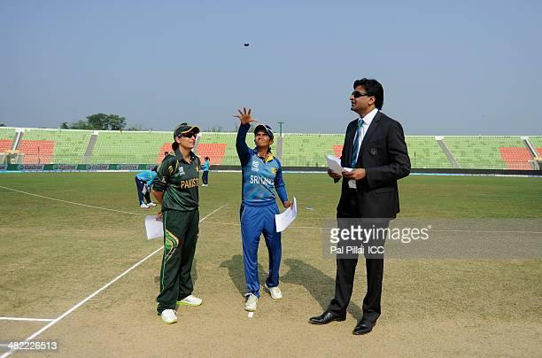 Sana Mir captain of Pakistan Shashikala Sriwardena captain of Sri Lanka and ICC match referee Javagal Srinath during the toss before the start of the...