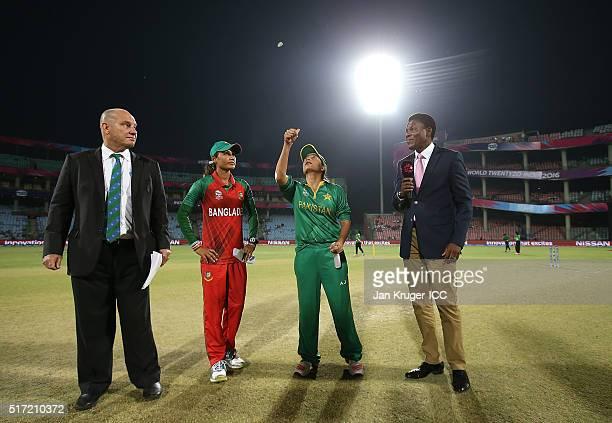 Sana Mir Captain of Pakistan toss the coin with Jahanara Alam Captain of Bangladesh looking on during the Women's ICC World Twenty20 India 2016 match...
