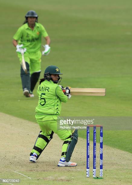 Sana Mir of Pakistan bats during the ICC Women's World Cup group match between Pakistan and South Africa at Grace Road on June 25 2017 in Leicester...