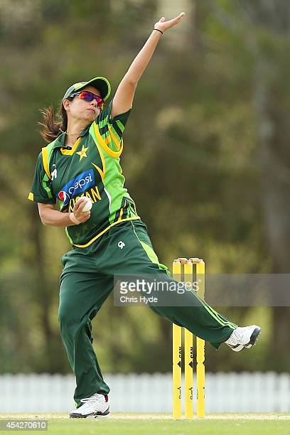 Sana Mir of Pakistan bowls during the women's international series One Day match between the Australian Southern Stars and Pakistan at Redlands...