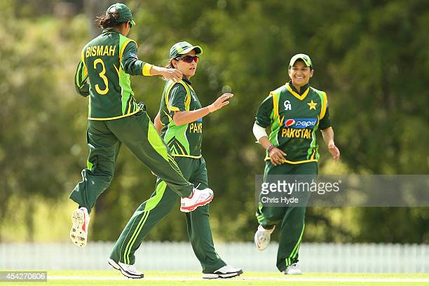 Sana Mir of Pakistan celebrates after dismissing Alyssa Healy of Australia during the women's international series One Day match between the...