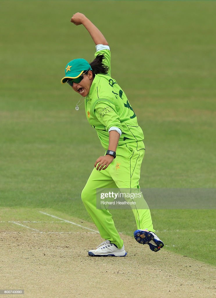 Sana Mir of Pakistan celebrates taking the wicket of Lizelle Lee of South Africa during the ICC Women's World Cup group match between Pakistan and South Africa at Grace Road on June 25, 2017 in Leicester, England.