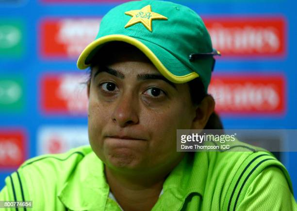 Sana Mir of Pakistan during a press conference following the ICC Women's World Cup match between Pakistan and South Africa at Grace Road on June 25...