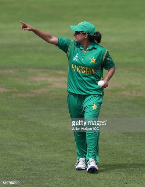 Sana Mir of Pakistan in action during The ICC Women's World Cup 2017 match between New Zealand and Pakistan at The County Ground on July 8 2017 in...