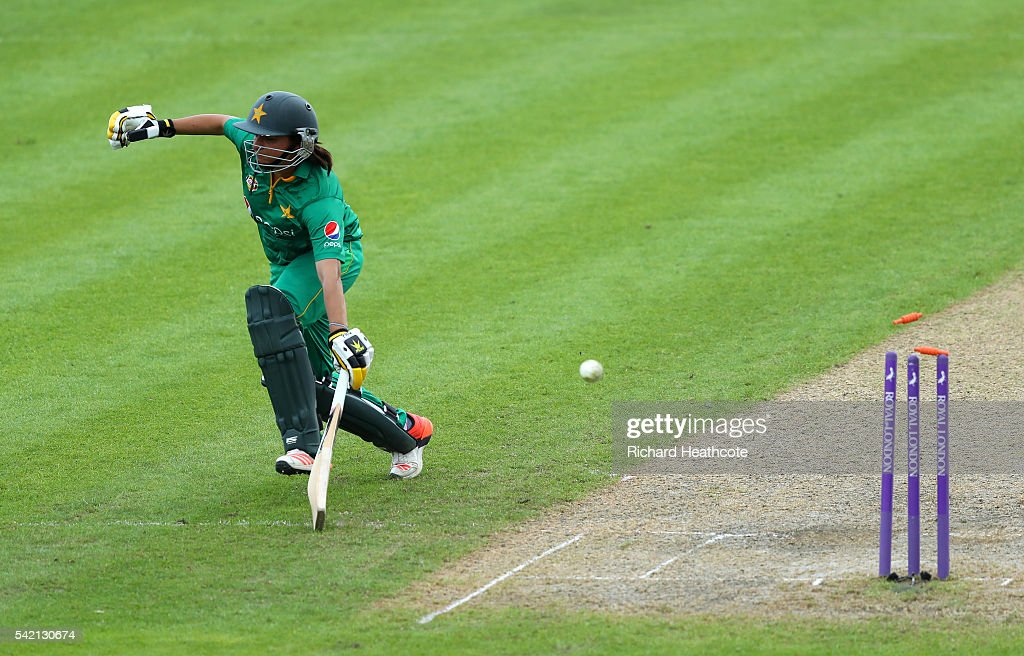 Sana Mir of Pakistan is run out during the second Women's Royal London ODI match between England and Pakistan at New Road on June 22, 2016 in Worcester, England.