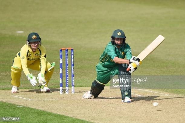 Sana Mir of Pakistan plays the reverse sweep shot during the ICC Women's World Cup 2017 match between Pakistan and Australia at Grace Road on July 5...