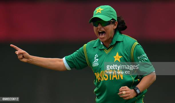 Sana Mir of Pakistan Women celebrates after dismissing Chedean Nation of West Indies Women during the ICC Women's World Cup Warm Up Match between...