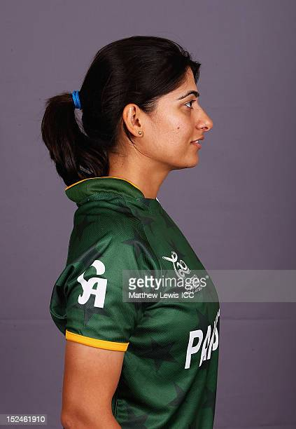 Sana Mir of the Pakistan Womens Cricket Team poses for a portrait ahead of the Womens ICC World T20 at the Galadari Hotel on September 21 2012 in...