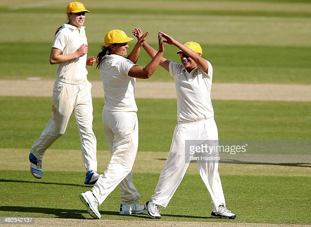 Sana Mir of the Rest of the World celebrates taking a wicket during the MCC Women v Rest of the World Women match at Lord's Cricket Ground on May 19...