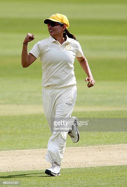 Sana Mir of the Rest of the World celebrates taking the wicket of Claire Taylor of MCC during the MCC Women v Rest of the World Women match at Lord's...