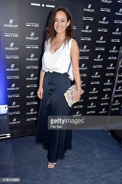 Sanaa Alaoui attends the 'Hublot Blue' cocktail party At Monsieur Bleu Palais De Tokyo on June 24 2015 in Paris France