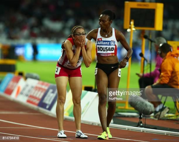 Sanaa Benhama celebrates after Women's 1500m T13 Final during IPC World Para Athletics Championships at London Stadium in London on July 14 2017