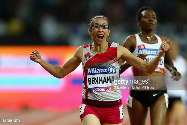 Sanaa Benhama of Morocco celebrates winning the Women's 1500m T13 Final during the IPC World ParaAthletics Championships 2017 at London Stadium on...