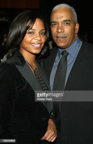 Sanaa Lathan and father Stan Lathan during Russell Simmons's Def Poetry Jam After-Party at Bryant Park Grill in New York, New York, United States.