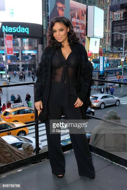Sanaa Lathan visits Extra at their New York studios at the Hard Rock Cafe in Times Square on March 8 2017 in New York City