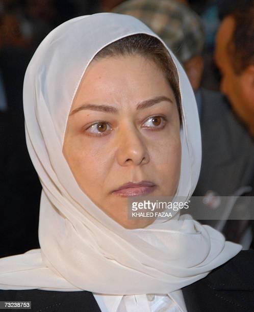 Raghad the daughter of Iraq's late former president Saddam Hussein attends a memorial service held in the Yemeni capital Sanaa on the 40th day after...