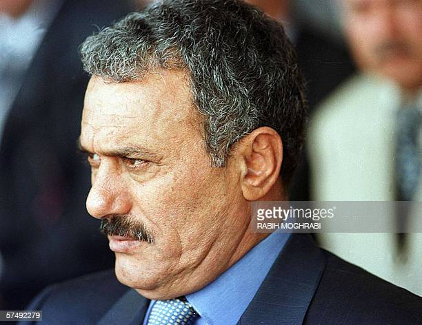 TO GO WITH AFP STORY BY CHRISTIAN CHAISE File picture dated 23 September 1999 shows Yemeni President Ali Abdullah Saleh outside a polling station in...