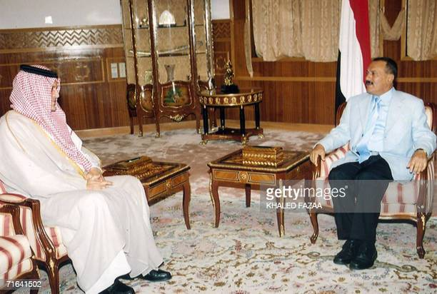 Yemeni president Ali Abdullah Saleh talks with Saudi Foreign Minister Saud alFaisal during a meeting in Sanaa late 13 August 2006 The minister said...