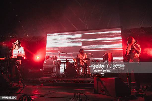 Sanae Yamada, John Jeffrey and Rippley Johnson of Moon Duo perform on the Orbit stage during day 2 of BlueDot Festival 2016 at Jodrell Bank on July...